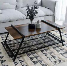 Retro Coffee Table Nordic minimalist Wood top/Black Wrought Iron living/Dining