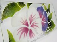 St Luke Hand Crafted Fused Art Glass Hibiscus Tray 1980 Victor Palumbo Exc!