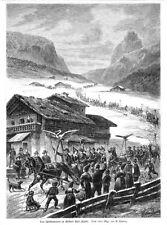 Grödnertal Südtirol, Schlitten-Rennen, Original-Holzstich 1886