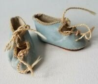 "Antique Bee Mark 1.7"" French Doll Shoes Paris Size 3 Blue Bisque Bru Bebe Jumeau"