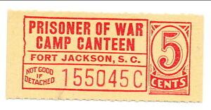 USA WWII POW Camp Chit SC-12-2-5 Fort Jackson SC 5 Cents Prisoner of War