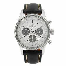 Breitling Transocean Acero Dial De Plata Diamante Bisel Reloj Para hombres AB015253/G724