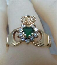 9ct Gold Claddagh Ring. Emerald & Diamond Paste Stones. P 1/2. Ref: xeod