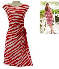 16 XL 1X SEXY Womens CORAL/WHITE STRIPED SIDE-TIE DRESS Spring Summer Plus Size