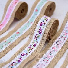 Beauty Floral Print Jute Burlap Ribbon Wedding Party Christmas 2m DIY Decoration
