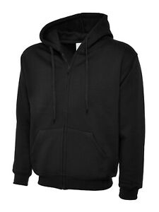 UNEEK Mens Plain Full Zip Up Hoodie • Heavyweight Hooded Sweatshirt Hoody UC504