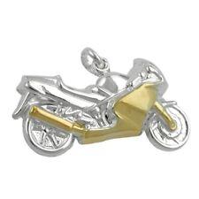 Anhänger Motorrad Bike aus echtem 925 Silber vergoldet, bicolor, Silberanhänger
