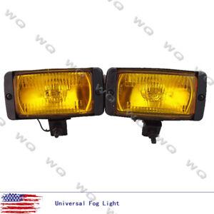 Universal 12V Front Quartz Yellow lens Halogen Fog Lights Lamp Car Van 4x4 Pairs
