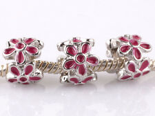 3P silver Rose flowers LAMPWORK spacer beads Charm fit European Bracelet #F992