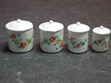 Dollhouse Miniature Metal White Canister Set of 4 1:12 scale D24 Dollys Gallery