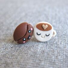 Handmade Miniature Food Brown Coffee Bean Cup Small Stud Funny Earrings Jewelry