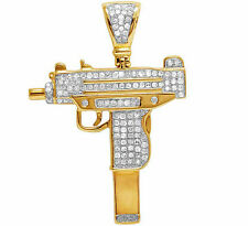 10K Yellow Gold Genuine Diamond Uzi Gun Pistol Custom Pendant Charm 7/10 CT 1.7""