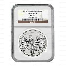 Brand New 2011 UK Great Britain Silver Britannia 1oz NGC MS69 Graded Coin