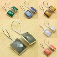 925 Silver Plated BLUE FIRE LABRADORITE & Other Gemstone DELICATE Earrings