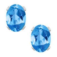2.00 Ct Oval Blue Topaz 925 Sterling Silver Stud Earrings 7X5mm
