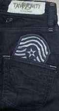 New Taverniti Courtney 18 Slim BootCut Military Patch Women's Black Jeans 26x33