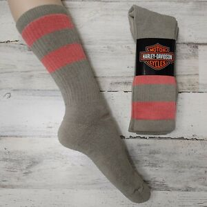 2 Pair Harley Davidson Merino Wool Socks Women's Medium Tan Coral Striped
