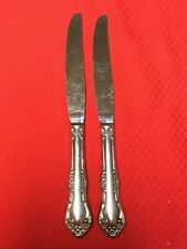 Set 2 PINCHED HANDLE Dinner Knives MANSFIELD Wm Rogers Deluxe Oneida Stainless