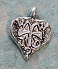 tiny charm WWJD Christian Religious - What Would Jesus Do - Christ Heart