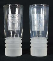 Vintage Modernist Italian Art Glass Hi Ball Glasses Etched Faces