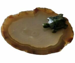 Jade Green Tortoise Turtle on a Polished Rock Miniature Sculpture
