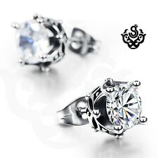 Silver stud made with clear swarovski crystal earrings soft gothic 1.25ct