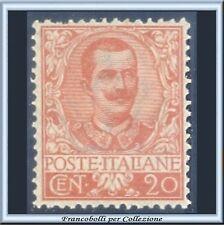 1901 Italia Regno Floreale cent. 20 arancio n. 72 Centrato Nuovo integro **
