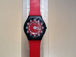 On SALE! 1996 Swatch Skin Red/black SWATCH ROSSO CORSA SKIN  NEW IN CASE
