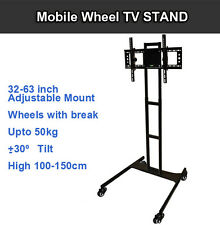 TV MOBILE WHEEL TROLLEY STAND FLOOR BRACKET MOUNT LED LCD 32 42 46 50 55 60 63