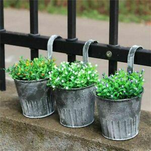 Flower Pots Hanging Balcony Garden Fence Plant Iron Planter Bucket Home Decor
