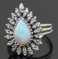 Vintage heavy 14K WG 3.0CTW VS diamond/12 X 8mm Pear opal cluster cocktail ring