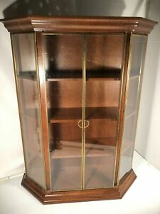 Brass Glass Door Wood Shelf Four Tier Vintage Knick Knack Wall Mountable Display
