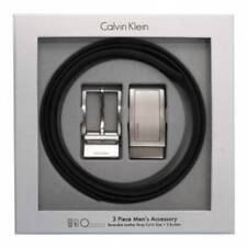 Calvin Klein CK Men's Reversible Leather Buckle Belt 3 Piece Gift Box Set 74306