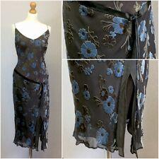 Planet Ladies Grey Blue Silk Velvet 20s Retro Strappy Calf Length Dress Uk 14