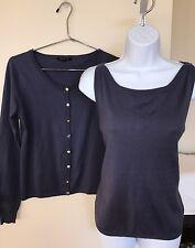 Tara Jarmon Blue Cardigan Cashmere Blend Sweater Twinset Mixed Buttons Medium