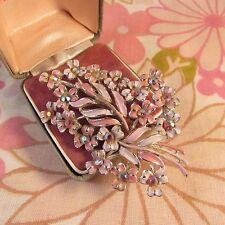 Vintage 1950s Enamel & Rhinestone Floral Design Brooch Pin