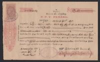 3c Revenue Queen Victoria Straits Settlements stamp on 1899 Penang Document