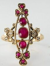 DIVINE LONG 9K 9CT GOLD RUBY & DIAMOND VICTORIAN INS RING FREE RESIZE