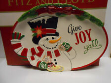 Fitz And Floyd Give Joy Y'All Top Hat Frosty Cookie Platter Brand New In Box