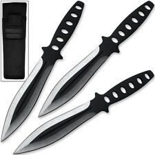 DeadEye Precision Throwing Knife Set 3pc Two Tone Black Stainless Steel Ninja