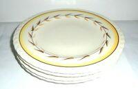 """4 Vintage Vernon Kilns ARCADIA Hand Painted Ceramic Dinner Plates Leaf 10.5"""""""