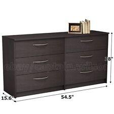 Bedroom Storage Dresser Chest Double 6 Drawer Modern Brown Espresso
