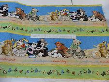 Kitty Play Border Print Teddy Bears, Rabbits, Cats Children's Quilt 100% Cotton