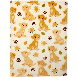 Lion King: Simba and Nala Plush Printed Blanket by Disney Baby