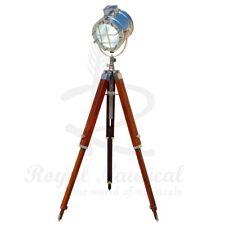 Tripod Floor Lamp Nautical Spotlight Vintage Studio Wooden Light Home Office