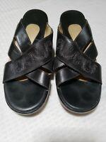Ariat Women Black US Size 9B Leather Open Toe Slides Sandals Mules Shoes Stitch