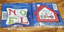 Lot-2 Cross Stitch Kits Stitch N Stuff-Hang baby's first christmas noel SACHET