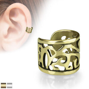 Wide Filigree Cut Out Non-Piercing Ear Cuff