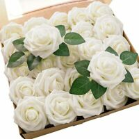 Artificial Flowers 25pcs Real Looking Foam Ivory Fake Roses with Stems for DIY