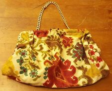 Vintage, Multi-color, Floral, Fabric, Baguette with Brass Link Chain, 1950's